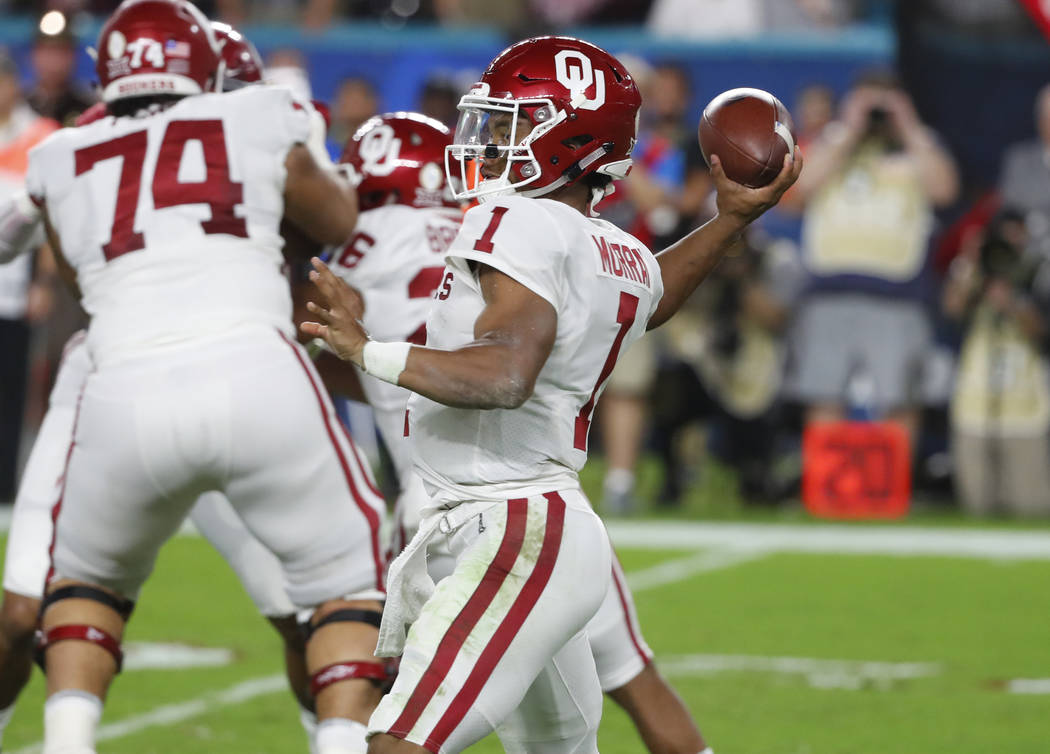 In this Dec. 29, 2018, file photo, Oklahoma quarterback Kyler Murray (1) looks to pass during the first half of the Orange Bowl NCAA college football game against Alabama, in Miami Gardens, Fla. R ...