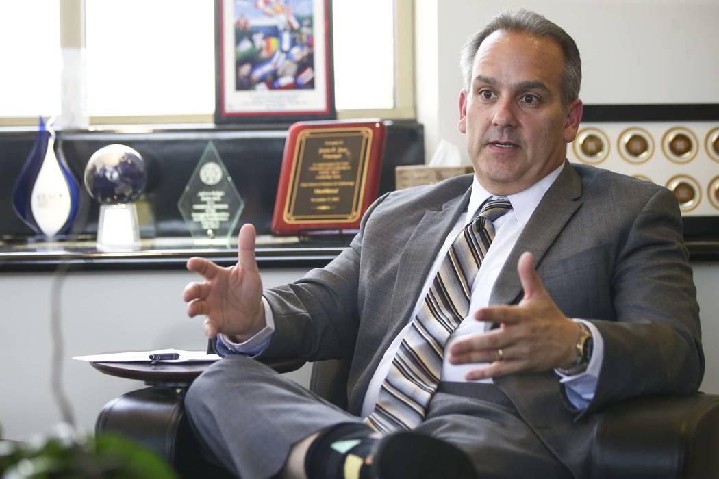 Clark County School District superintendent Jesus Jara speaks in his office in Las Vegas on Thursday, July 26, 2018. (Chase Stevens/Las Vegas Review-Journal) @csstevensphoto