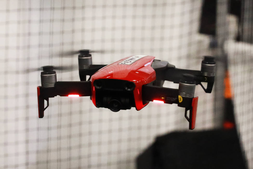 Austin Gibson, not pictured, flies a Mavic Air during the International Security Conference & Exposition, also known as ISC West, at the Sands Expo and Convention Center in Las Vegas on Thursd ...