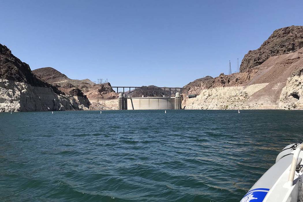 Hoover Dam and the Mike O'Callaghan-Pat Tillman Memorial Bridge can be seen from Lake Mead, May 25, 2018. (Hali Bernstein Saylor/Boulder City Review)