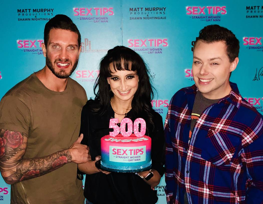 """Chris Hodgson, Katie Kenner and Mark Melton of """"Sex Tips For a Straight Woman From a Gay Man"""" celebrate the show's 500th performance at Paris Las Vegas's Anthony Cools Theater on Saturday, Jan. 12 ..."""
