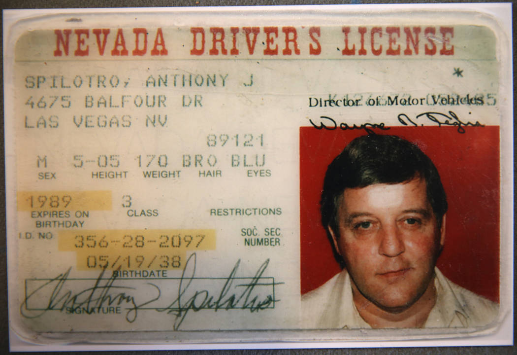 "The driver's license of Las Vegas mobster Tony ""The Ant"" Spilotro is shown in his former home at 4675 Balfour Drive in Las Vegas in a photo provided by broker Shannon Smith Monday, Jan. ..."