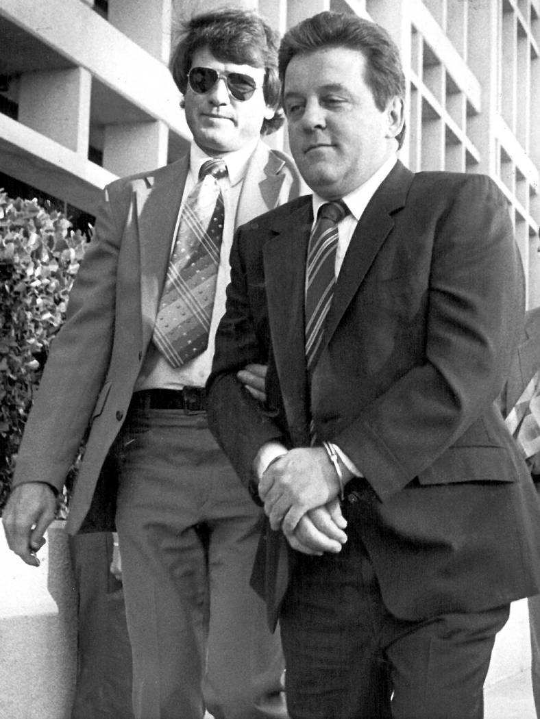 """Las Vegas mobster Tony """"The Ant"""" Spilotro is taken into custody in Las Vegas on Oct. 11, 1987. (Review-Journal File)"""