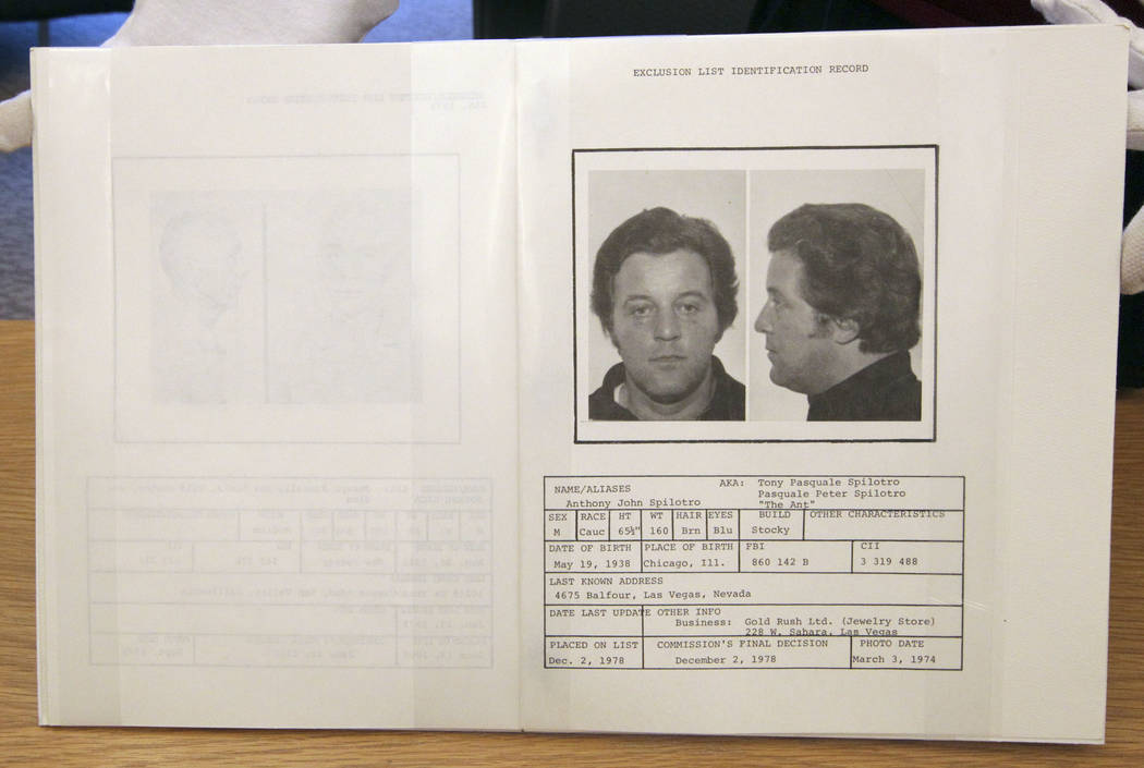 "Las Vegas mobster Tony ""The Ant"" Spilotro was included in the ""black book"" that casinos used to exclude notorious people. (Review-Journal File)"
