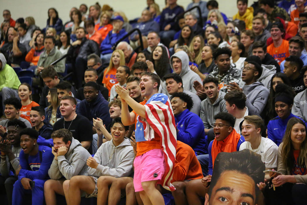 Bishop Gorman fans cheer on the basketball team during the first half of their game against Clark County High School at Bishop Gorman High School in Las Vegas, Monday, Jan. 14, 2019. Caroline Breh ...