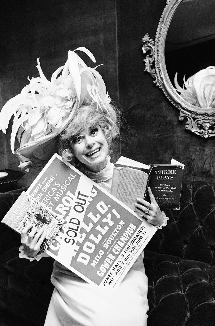 "Carol Channing holds a sold-out advertisement poster of ""Hello, Dolly"" in Houston, June 11, 1967. Channing, whose career spanned decades on Broadway and on television has died at age 97. (Ed Kole ..."