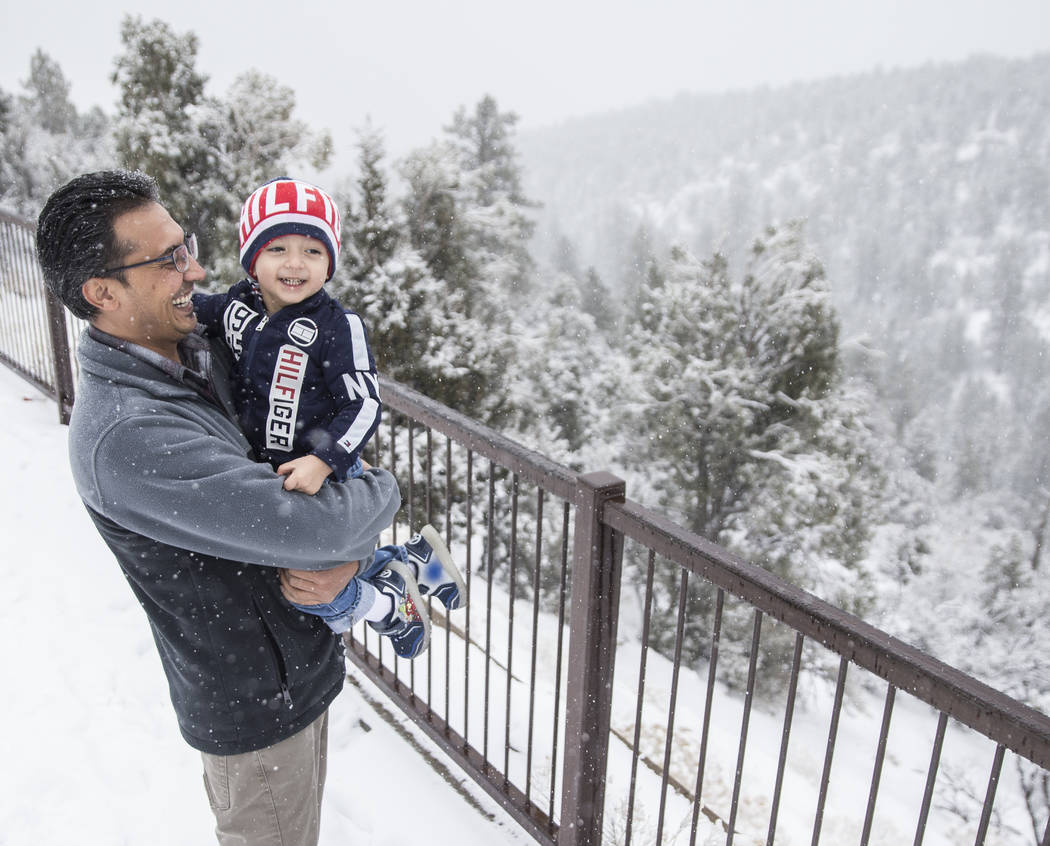 Ahmad Mehrzad, left, and son Adeed, 2, look out into the snow at Mount Charleston on Tuesday, Jan. 15, 2019, in Las Vegas. This was Adeed's first time experiencing snow. Benjamin Hager Las Vegas R ...