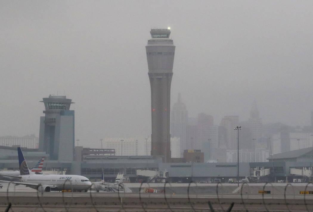 McCarran International Airport air traffic control tower and the Las Vegas Strip are shrouded in fog after rainfall on Tuesday, Jan. 15, 2019, in Las Vegas. Bizuayehu Tesfaye/Las Vegas Review-Jour ...