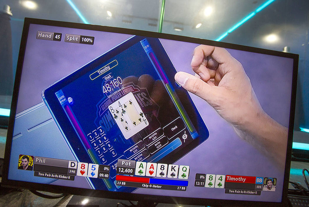 A video monitor shows a video poker screen during the 2016 GPI World Cup at Mediarex Sports & Entertainment in Las Vegas in 2016. (Las Vegas Review-Journal)