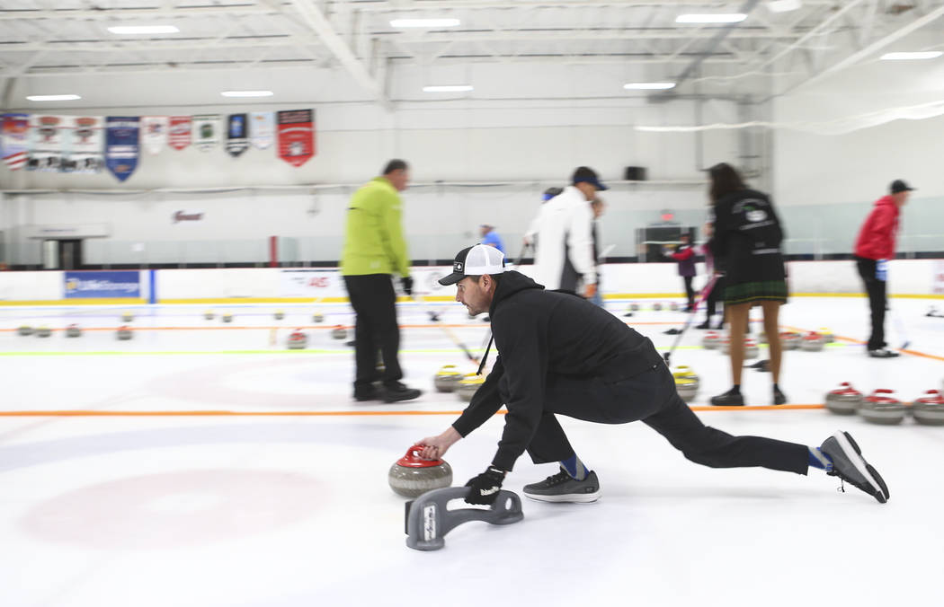 Former NFL quarterback Marc Bulger, a member of the All Pro Curling Team, competes in a curling tournament at the Las Vegas Ice Center in Las Vegas on Friday, Jan. 11, 2019. Chase Stevens Las Vega ...