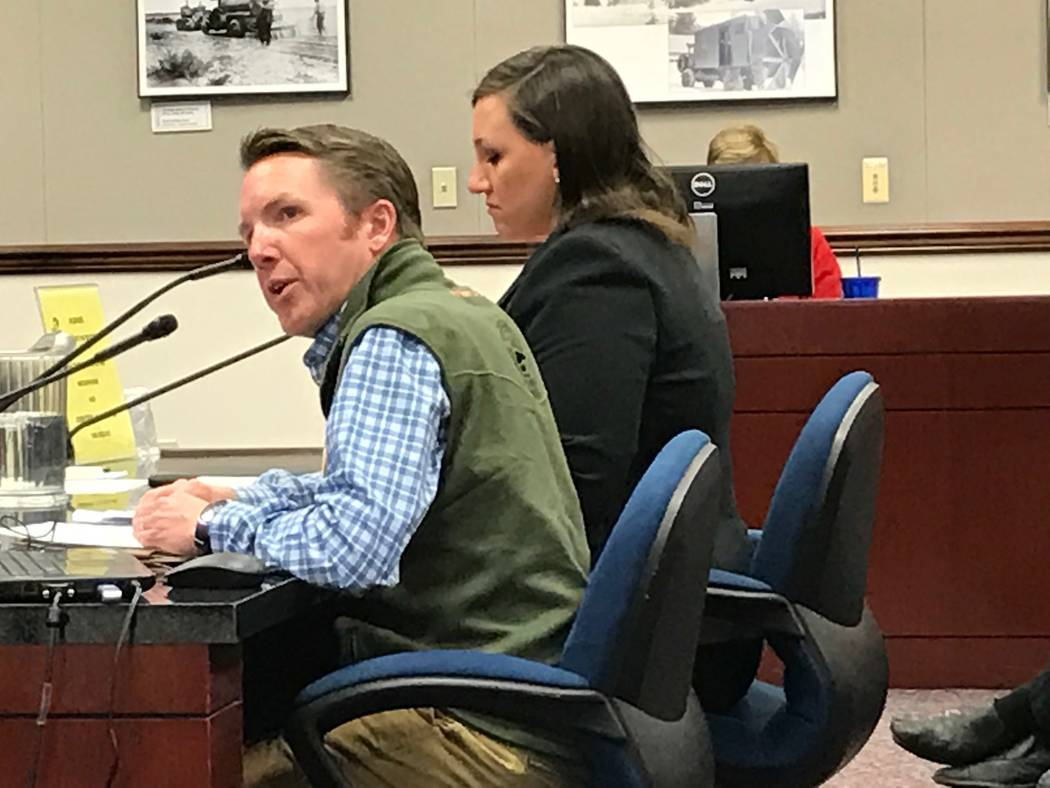 David Bobzien, with Backcountry Hunters and Anglers, and Sen. Nicole Cannizzaro, D-Las Vegas, present SB413 to establish a Public Lands Day in Nevada to lawmakers, April 10, 2017. (Sandra Chereb/L ...
