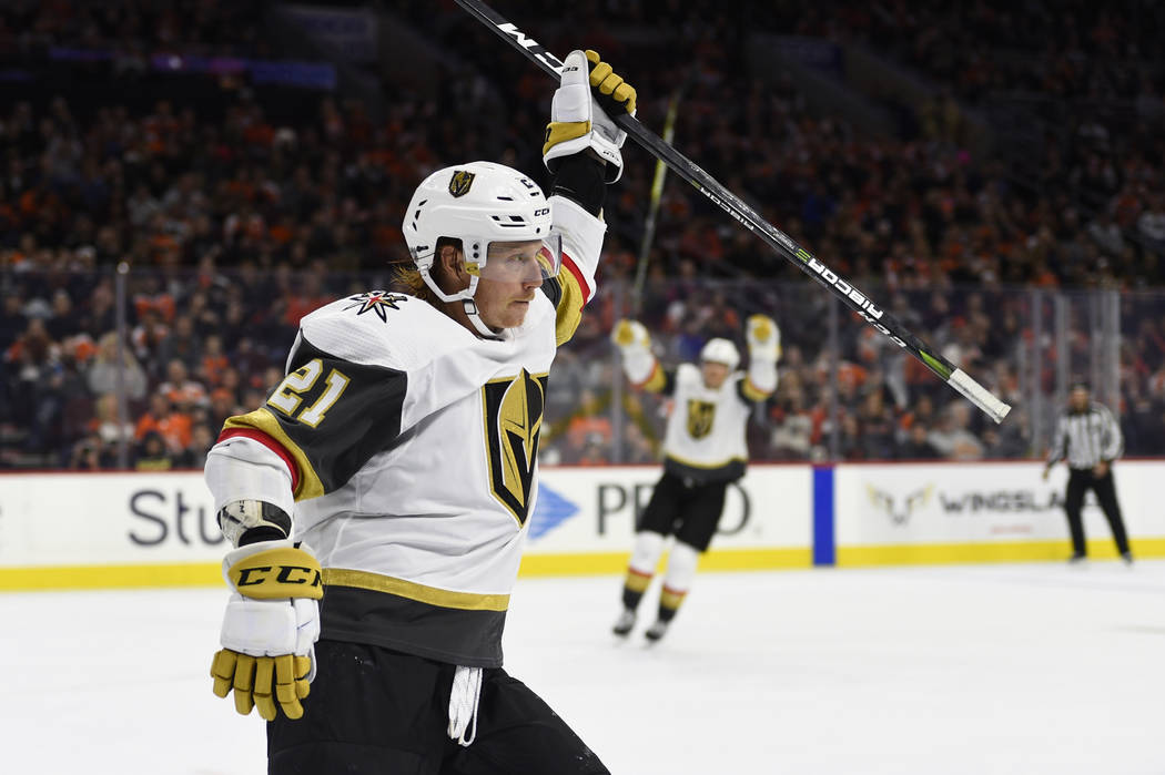 Vegas Golden Knights' Cody Eakin celebrates after scoring a goal on Philadelphia Flyers goaltender Brian Elliott during the third period of an NHL hockey game, Saturday, Oct. 13, 2018, in Philadel ...
