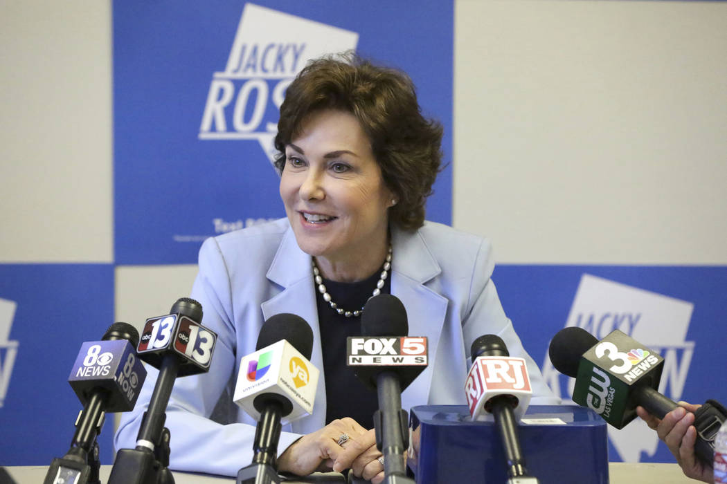 U.S. Senator-elect Jacky Rosen meets with Las Vegas reporters to discuss her win and priorities as Nevada's next senator on Friday, Nov. 9, 2018. (Michael Quine/Las Vegas Review-Journal via AP)