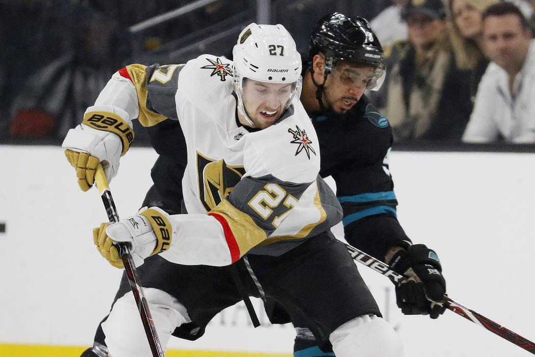6eca94039 Vegas Golden Knights defenseman Shea Theodore (27) skates around San Jose  Sharks left wing