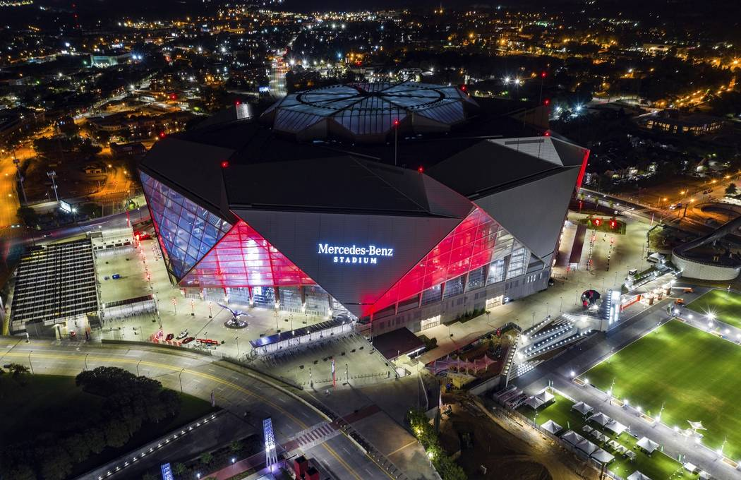 In this Friday, Sep. 21, 2018, photo, Mercedes-Benz Stadium is seen in this aerial photo in Atlanta. The stadium will be the site of Super Bowl LIII on Sunday, Feb. 3, 2019. Atlanta leaders, polic ...