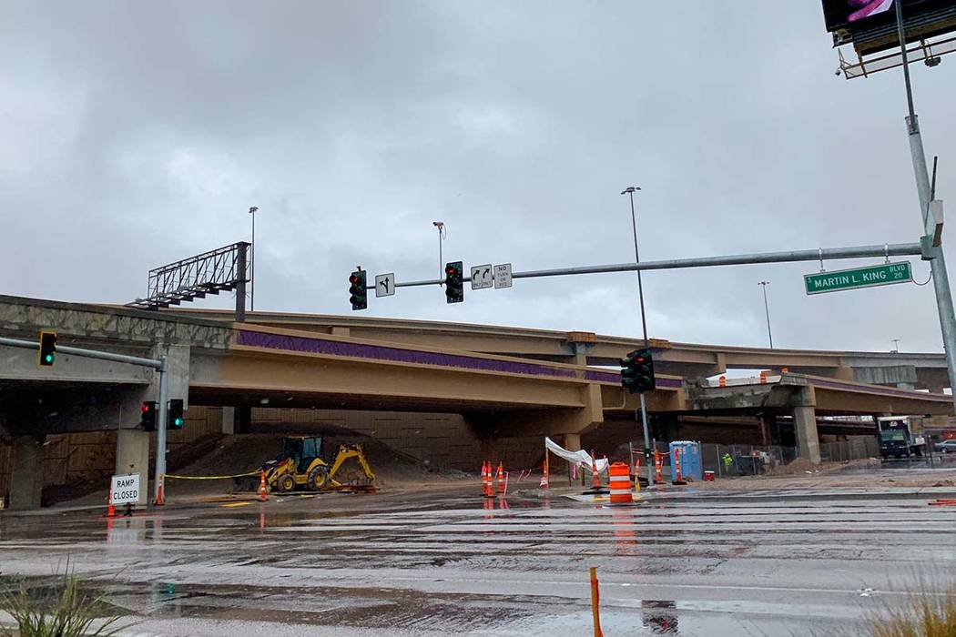 The Martin Luther King Boulevard onramps to Interstate 15 northbound, I-15 southbound and U.S. Highway 95 southbound are all slated to open at 6 a.m. Sunday. (Mick Akers/Las Vegas Review-Journal)