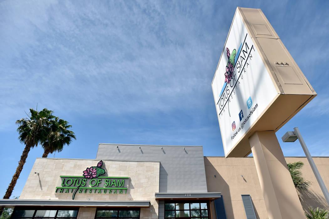 Lotus of Siam restaurant is seen along East Flamingo Road on Friday, May 11, 2018, in Las Vegas. David Becker/Las Vegas Review-Journal Follow @davidjaybecker