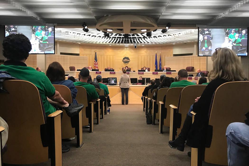 Members of the public addressed the Henderson City Council with concerns about the future of the Black Mountain golf course on Tuesday, Jan. 15, 2019. (Blake Apgar/Las Vegas Review-Journal)