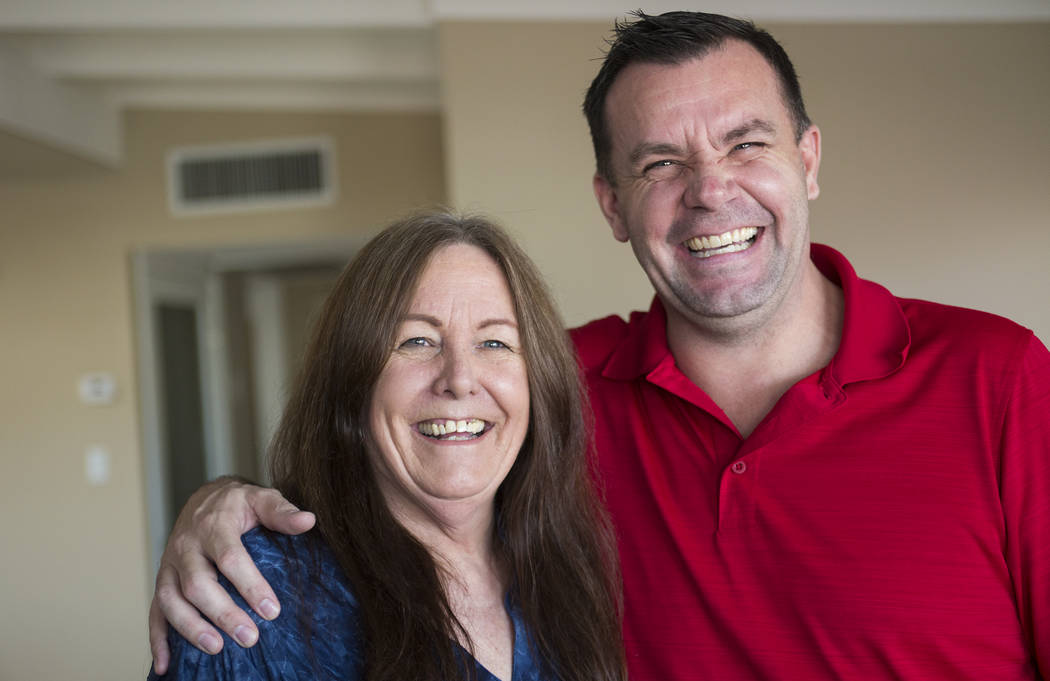 Michael Russell with his mother, Jill Drysdale, at their home in Las Vegas, Friday, Jan. 11, 2019. When Michael was young, his father died, pushing his already rebellious streak into drug addictio ...