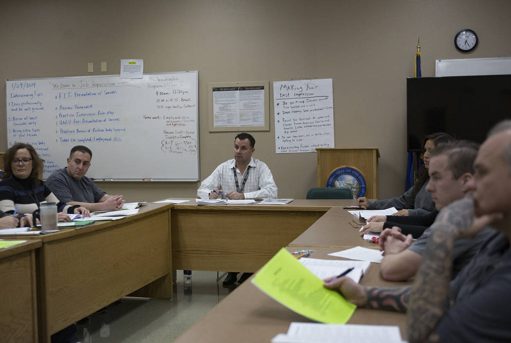 Michael Russell leads a Moral Recognition Therapy class at Casa Grande, a transitional housing facility run by the Nevada Department of Corrections, in Las Vegas, Wednesday, Jan. 9, 2019. (Rachel ...