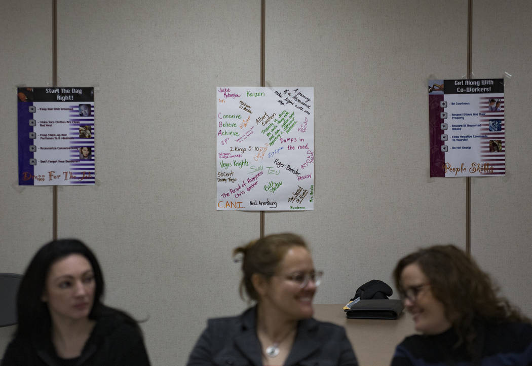 Posters on the wall of the classroom at Casa Grande, a transitional housing facility run by the Nevada Department of Corrections, in Las Vegas, Wednesday, Jan. 9, 2019. In August 2018, Michael Rus ...