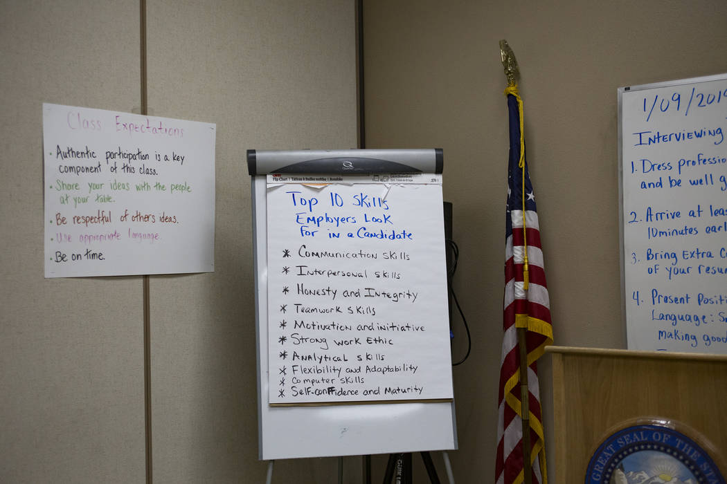 Posters on the wall of the classroom at Casa Grande, a transitional housing facility run by the Nevada Department of Corrections, in Las Vegas, Wednesday, Jan. 9, 2019. In August of 2018, Michael ...