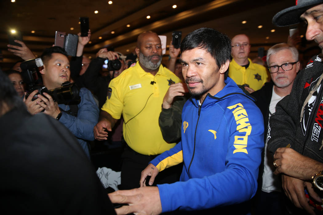 Manny Pacquiao makes his way to the stage during his grand arrival at the MGM Grand casino-hotel in Las Vegas, Tuesday, Jan. 15, 2019. Erik Verduzco Las Vegas Review-Journal @Erik_Verduzco