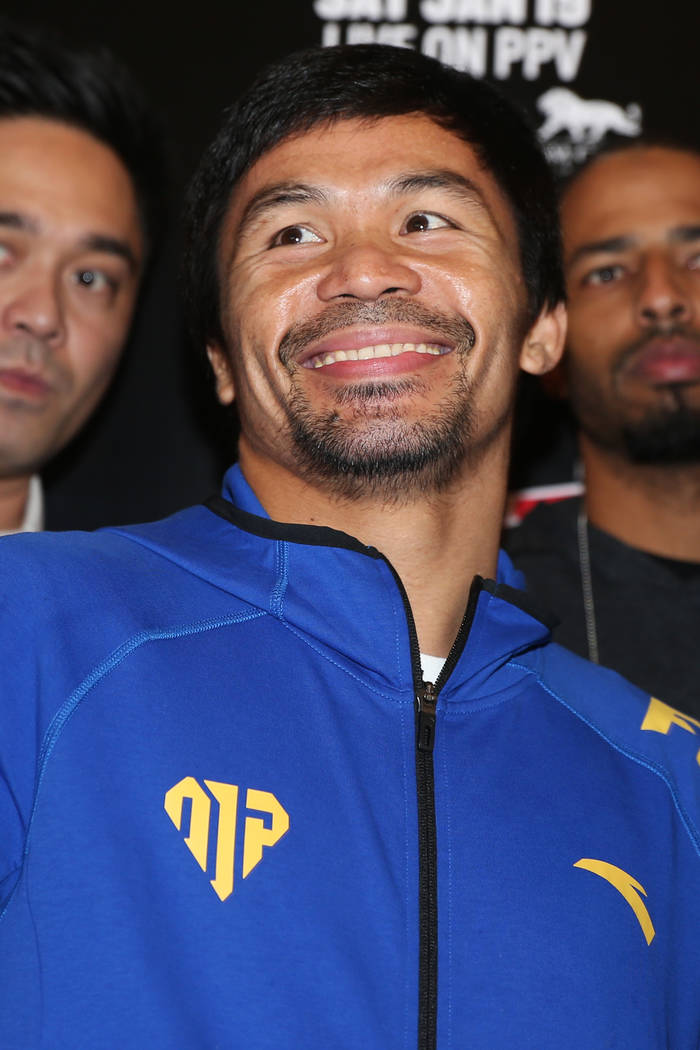 Manny Pacquiao on stage during his grand arrival at the MGM Grand casino-hotel in Las Vegas, Tuesday, Jan. 15, 2019. Erik Verduzco Las Vegas Review-Journal @Erik_Verduzco