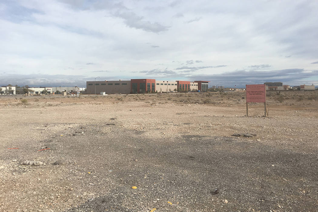 Casino operator Boyd Gaming Corp. filed plans to build two 10-story office buildings at the northeast corner of Buffalo Drive and Sunset Road in Las Vegas. The project site is seen above Wednesday ...