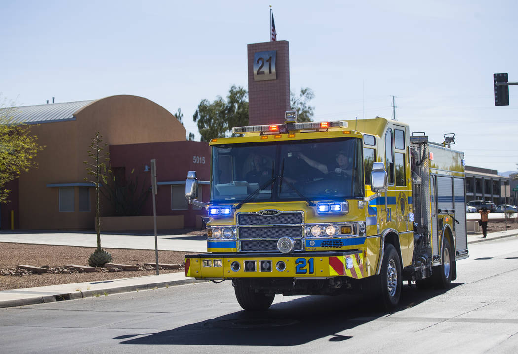 Clark County firefighters head out to a call from Fire Station 21 at 5015 W. Oquendo Road in Las Vegas on Tuesday, May 2, 2017. Chase Stevens Las Vegas Review-Journal @csstevensphoto