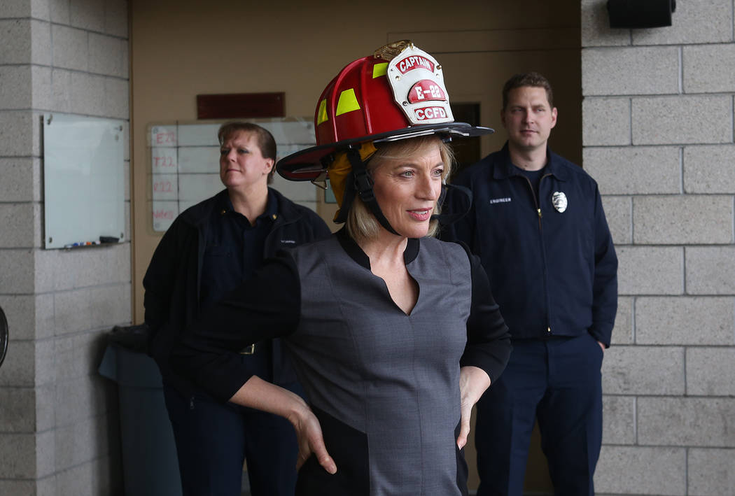 Owner of Walker Furniture Linda Laterwitz-Mizrahi at Fire Station 22 in Las Vegas, Wednesday, Jan. 16, 2019. Walker Furniture delivered new mattresses to all 30 Clark County firehouses in the Las ...