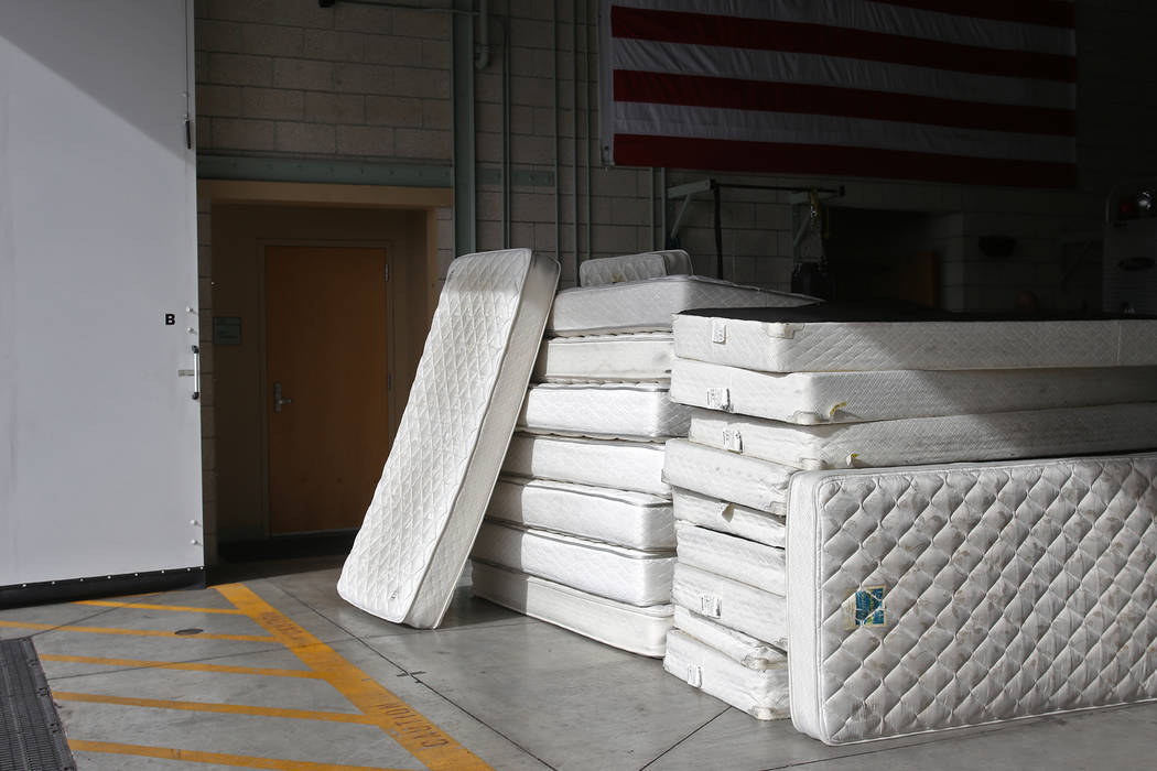The old mattresses to be thrown out at Fire Station 22 in Las Vegas, Wednesday, Jan. 16, 2019. Walker Furniture delivered new mattresses to all 30 Clark County firehouses in the Las Vegas Valley a ...