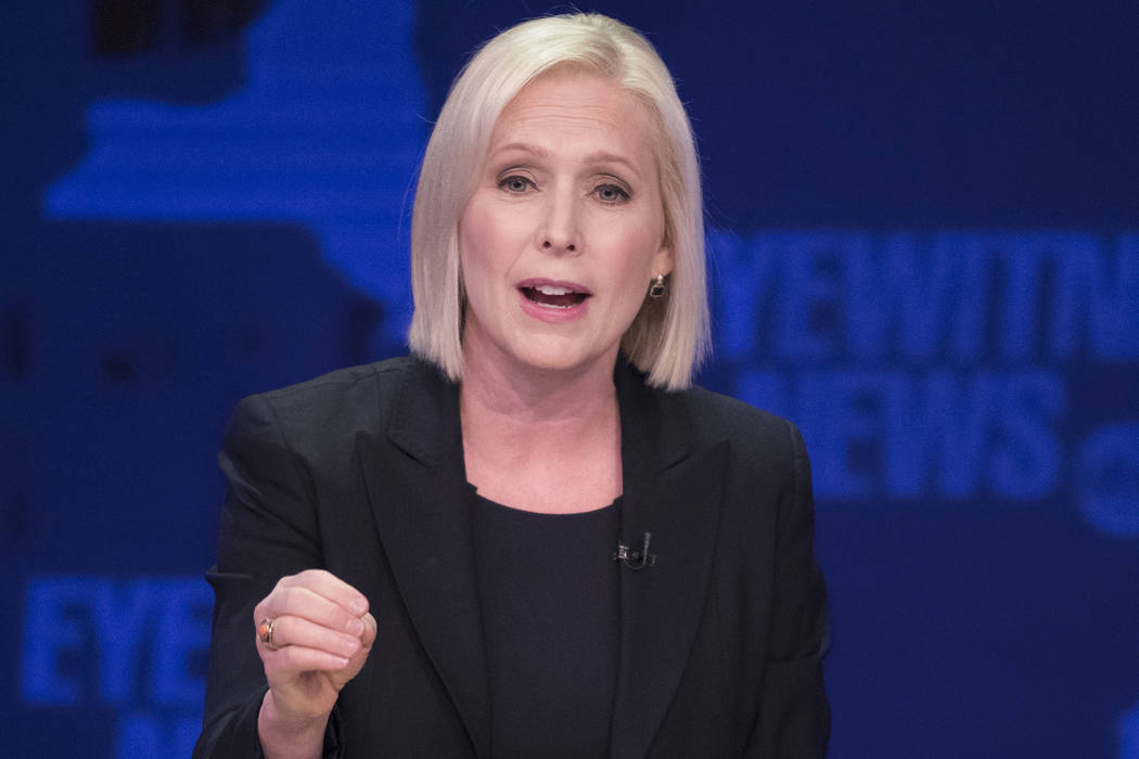In this Oct. 25, 2018 file photo, Sen. Kirsten Gillibrand, D-N.Y., speaks during the New York Senate debate hosted by WABC-TV, in New York. (AP Photo/Mary Altaffer, Pool, File)