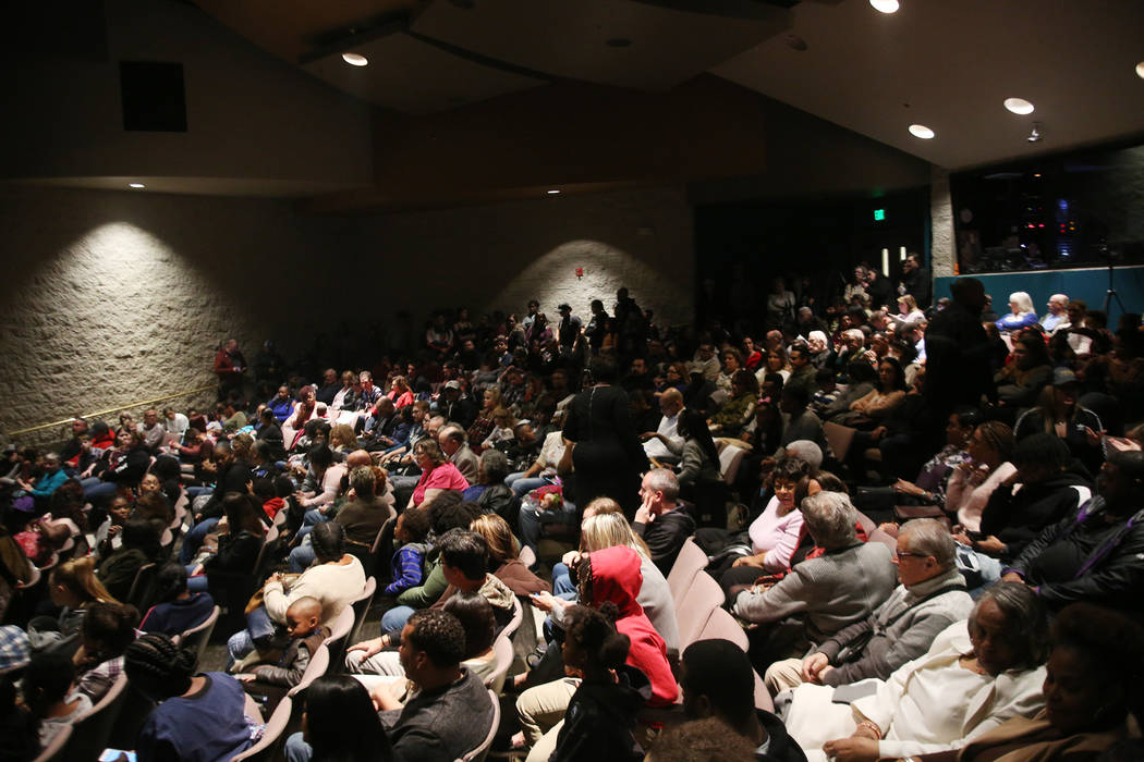 A packed house awaits a performance by the Trinity Conservatory of Performing Arts and other performances at the Peace Week Celebration at West Las Vegas Library in Las Vegas, Sunday, Jan. 20, 201 ...