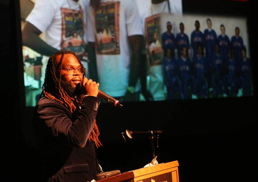 Morgan Harris addresses the crowd after receiving a youth leadership award at the Peace Week Celebration at West Las Vegas Library in Las Vegas, Sunday, Jan. 20, 2019. (Rachel Aston/Las Vegas Revi ...