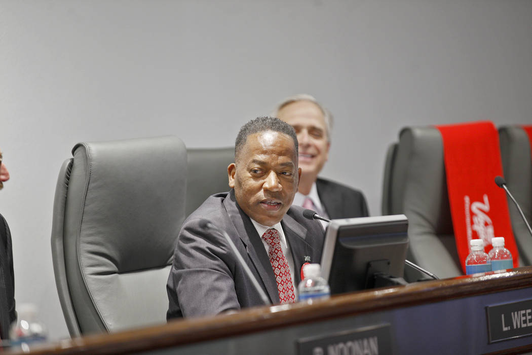 Las Vegas Convention and Visitors Authority Chairman Lawrence Weekly speaks at a board of directors meeting at the Las Vegas Convention Center in Las Vegas, Tuesday, May 8, 2018. Rachel Aston Las ...