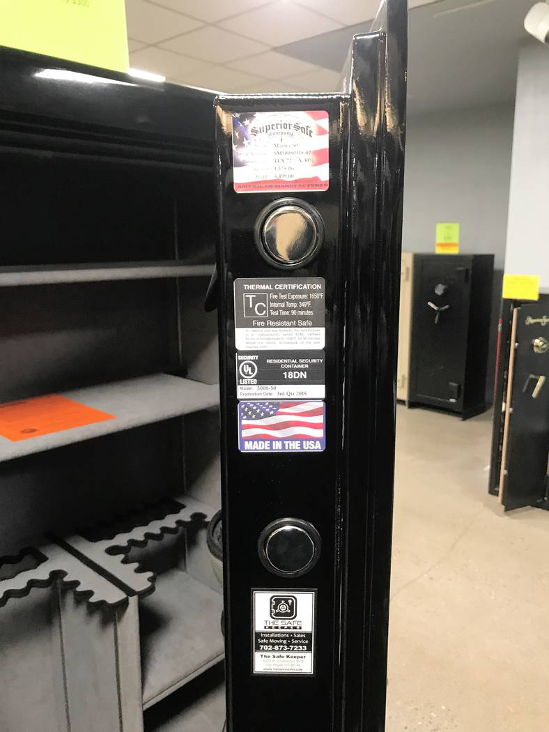 Safes are not all created equal. The door on this safe is made of thick steel plates rather than thin sheets folded over to look that way. You will also notice the fire rating on the door. This te ...