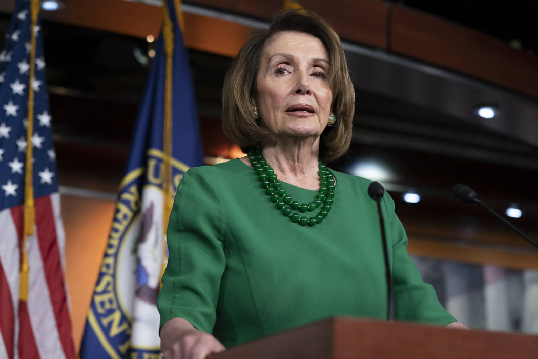 House Democratic Leader Nancy Pelosi of California, talks to reporters at the Capitol in Washington on Thursday, Dec. 20, 2018. (AP Photo/J. Scott Applewhite, File)