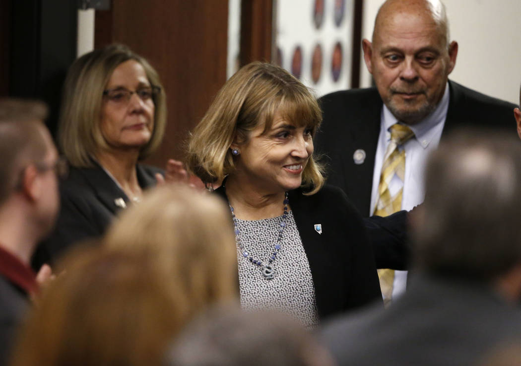 Nevada Lt. Gov. Kate Marshall enters the Assembly chambers before Gov. Steve Sisolak delivers his State of the State address to the Legislature in Carson City, Nev., on Wednesday, Jan. 16, 2019. ( ...