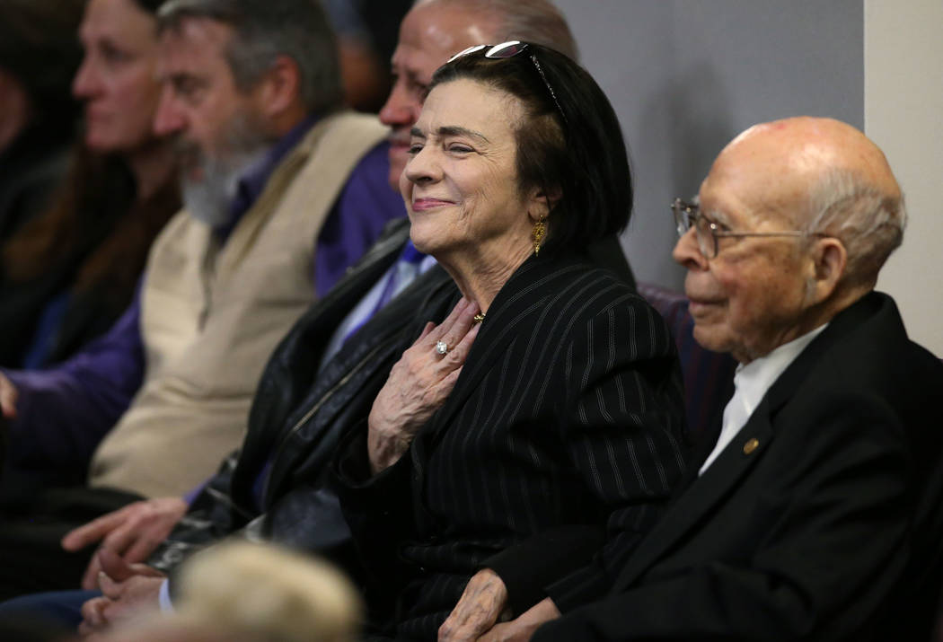 Former Nevada Assemblywoman Genie Ohrenschall and her husband wait for the start of Gov. Steve Sisolak's State of the State address to the Legislature in Carson City, Nev., on Wednesday, Ja ...
