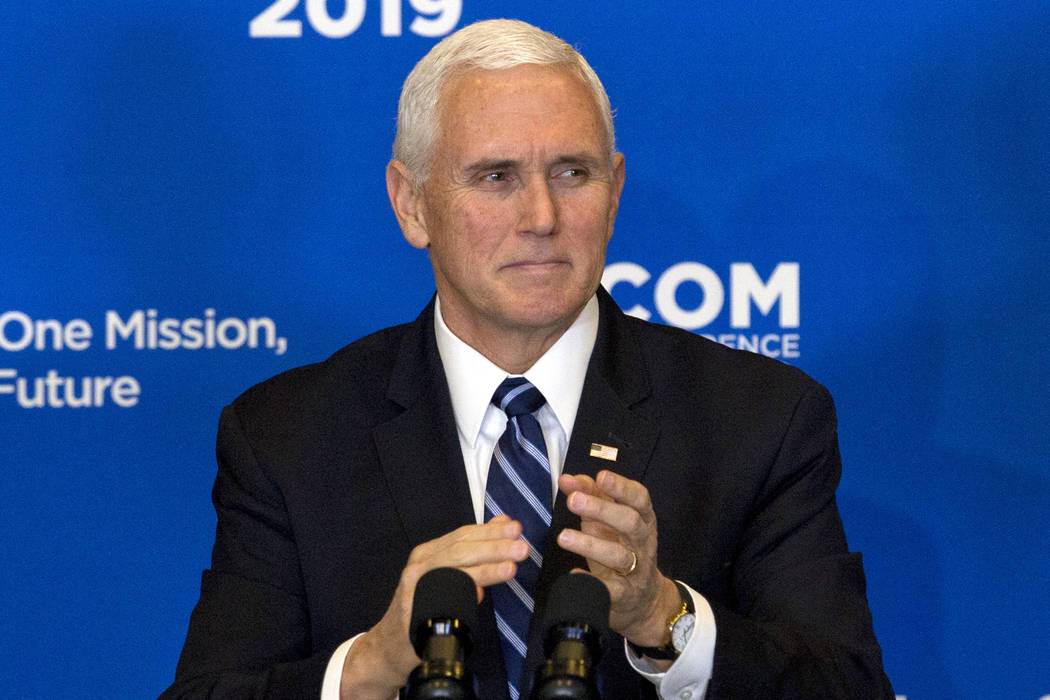"""Vice President Mike Pence speaks during the Global Chiefs of Mission Conference """"One Team, One Mission, One Future"""" at Department of State on Wednesday, Jan. 16, 2019, in Washington. Pen ..."""