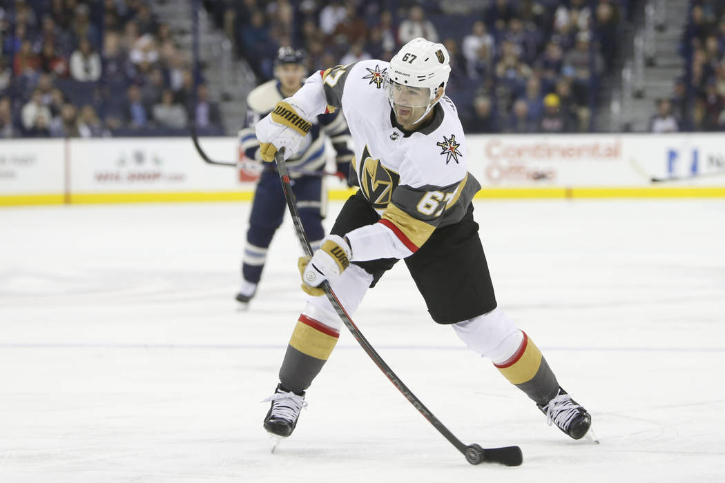 Vegas Golden Knights' Max Pacioretty plays against the Columbus Blue Jackets during an NHL hockey game Monday, Dec. 17, 2018, in Columbus, Ohio. (AP Photo/Jay LaPrete)