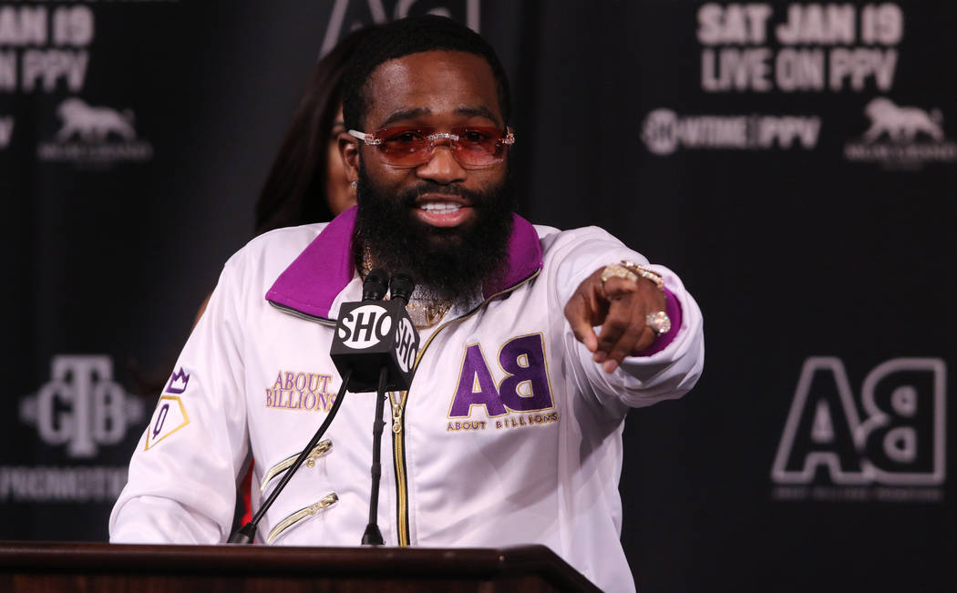 Former four-division world champion boxer Adrien Broner gestures as he addresses the media during a news conference at the David Copperfield Theater at the MGM Grand in Las Vegas, Wednesday, Jan. ...