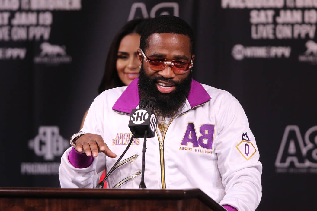 Former four-division world champion boxer Adrien Broner addresses the media during a news conference at the David Copperfield Theater at the MGM Grand in Las Vegas, Wednesday, Jan. 16, 2019. ...
