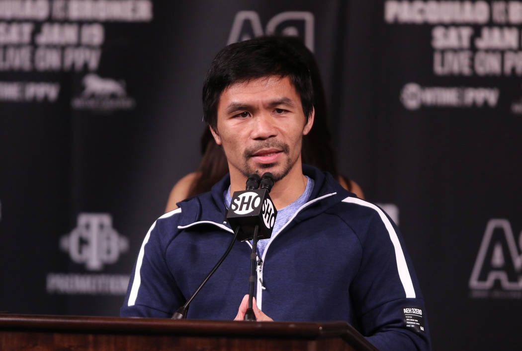 Boxer Manny Pacquiao speaks to media during a news conference at the David Copperfield Theater at the MGM Grand in Las Vegas, Wednesday, Jan. 16, 2019.Pacquiaowill face Adrien Broner, ...