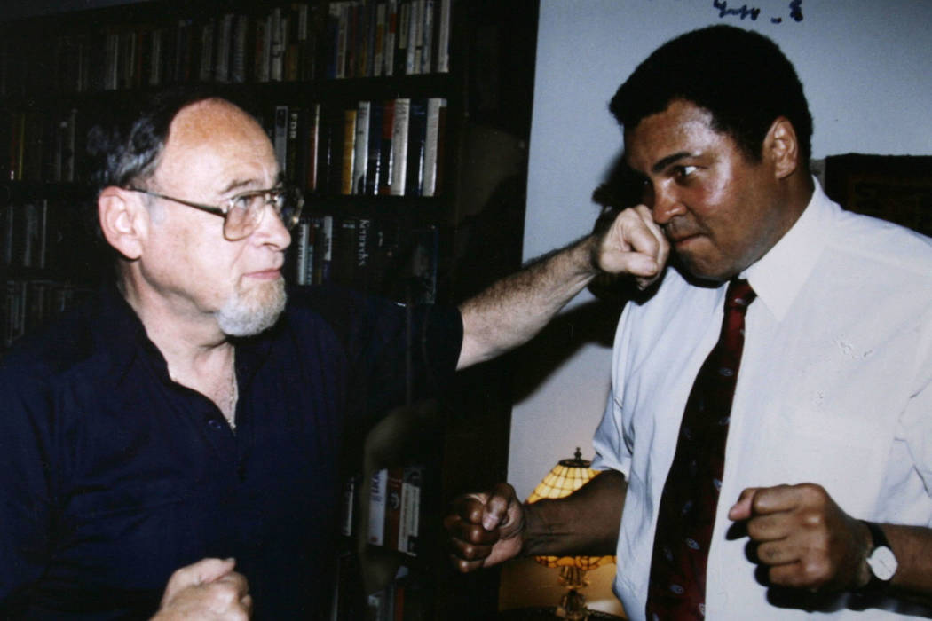 """Copy photo of Jerry Izenberg and Muhammad Ali in 1991. Izenberg, who lives in Henderson, released his """"Once There Were Giants: The Golden Age of Heavyweight Boxing"""" book on Tuesday. (Jerry Izenberg)"""