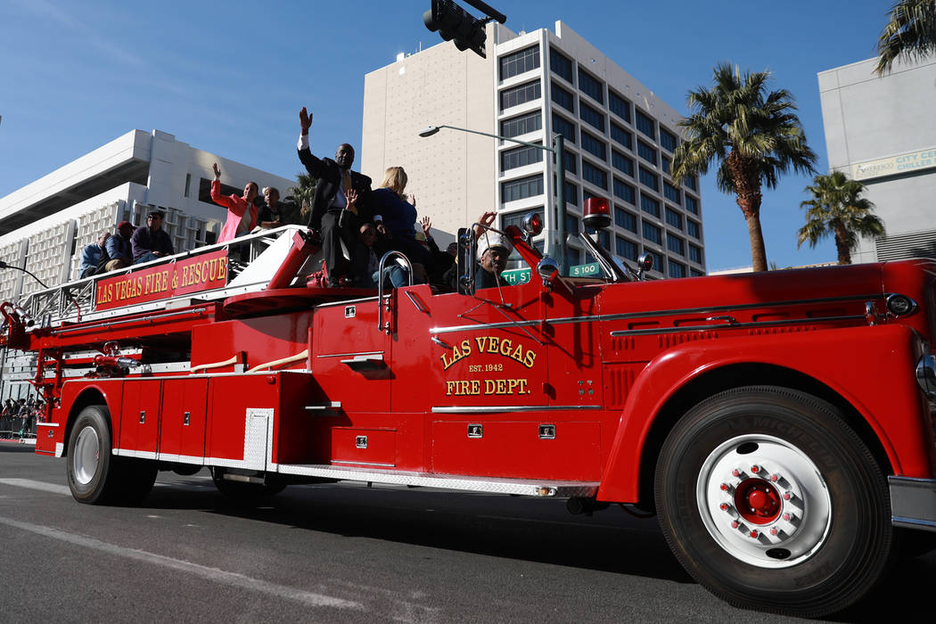 "The Las Vegas Fire Department participates in the 36th annual Dr. Martin Luther King Jr. Parade, themed ""Living the Dream: Building a Bridge to Unity,"" in downtown Las Vegas, Jan. 15, 2018. The pa ..."
