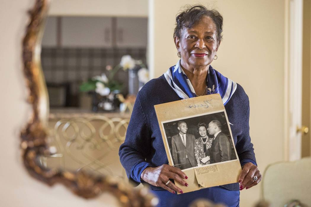 Ida Gaines holds a newspaper clipping from Martin Luther King's April 1964 speech in Southern Nevada at her home in Spring Valley on Tuesday, March 13, 2018. Gaines attended Dr. King's speech to S ...