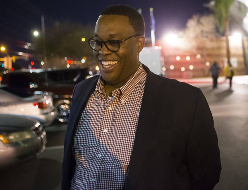 Las Vegas City Council Ward 5 candidate Cedric Crear outside of Doolittle Community Center after polls were closed in Las Vegas on Tuesday, March 27, 2018. The election is to serve out the remaini ...