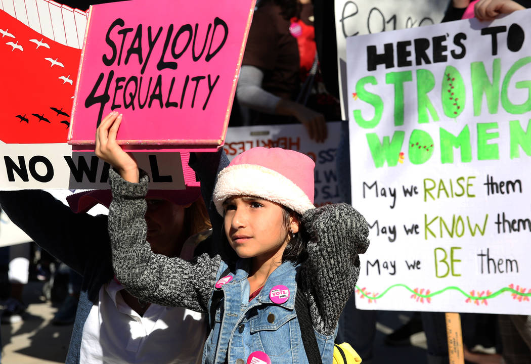 Mariah Arenas, 8, protests during Empowering Women March on Saturday, Jan. 19, 2019, outside of Lloyd George Federal Building in Las Vegas. Bizuayehu Tesfaye/Las Vegas Review-Journal @bizutesfaye